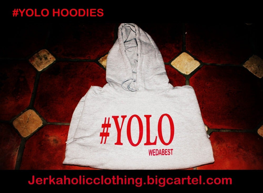 Image of GREY / RED #YOLO HOODIE