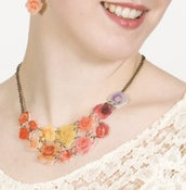 Image of Petal Spectrum Necklace (on cream acrylic with antique gold chain)