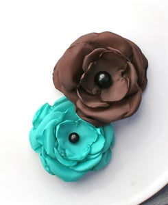 Image of Turquoise and Brown Fabric Flower