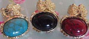 Image of Arty Inspired Stone Ring - Available in RED, BLACK and TURQUOISE