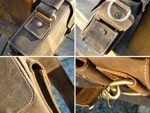 Image of Vintage Handmade Antique Crazy Horse Leather Briefcase Messenger Laptop Bag in Old Brown (n20-3)