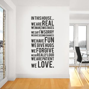 Image of Family Rules - In This House We Do Wall Decal Sticker