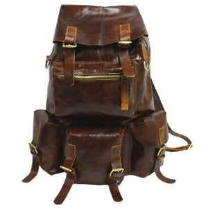 Image of Large Handmade Superior Cow Leather Backpack Travel Bag (n421)