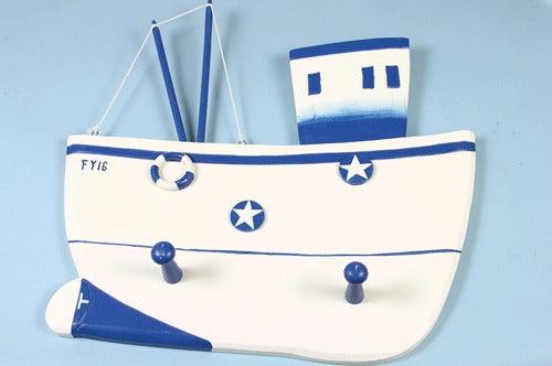 Image of Trawler Plaque Coat Hook - White