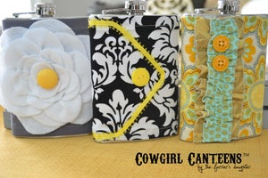 Image of Black & White Damask Cowgirl Canteen™ Designer Hip Flask for Women