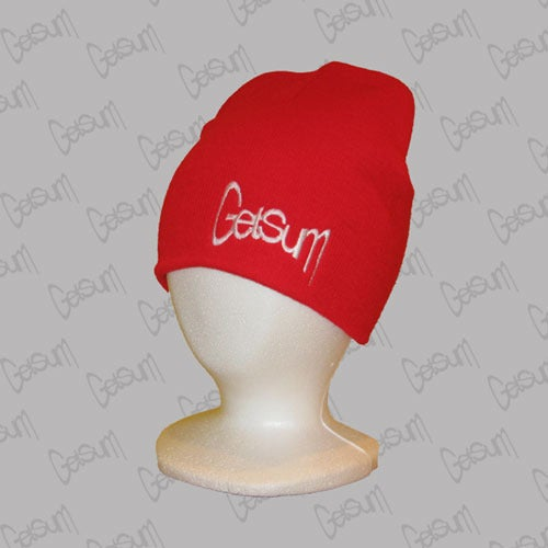 Image of Red Beanie w/White
