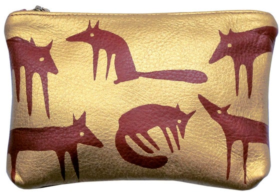 Image of Leather Gold Foxes Purse Medium