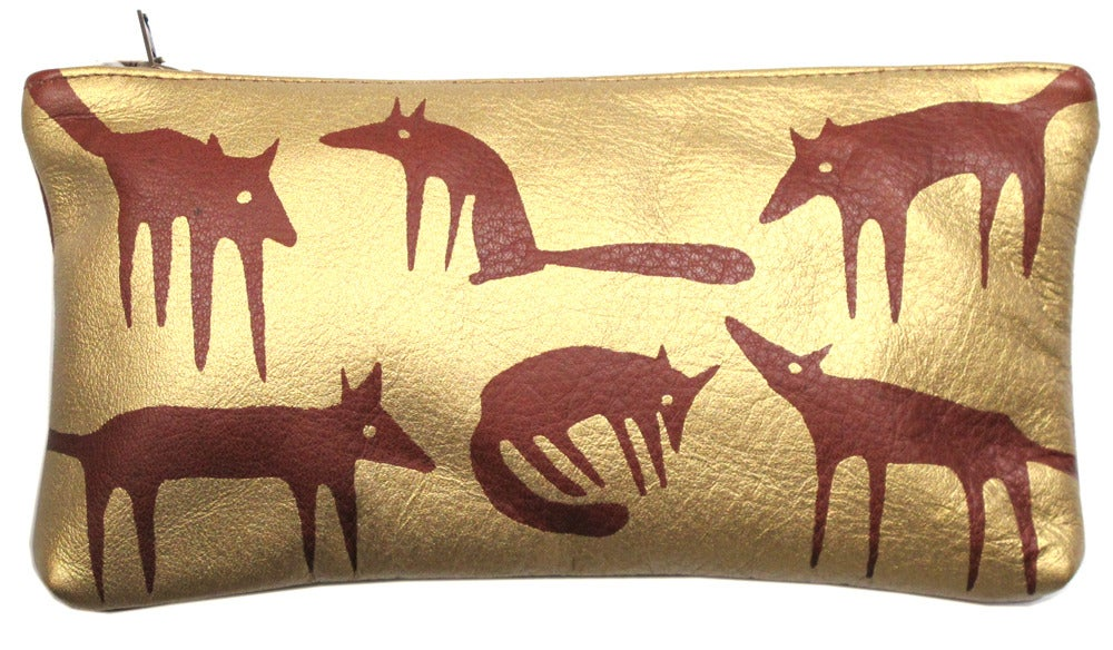 Image of Brown & Gold Foxes Purse Large