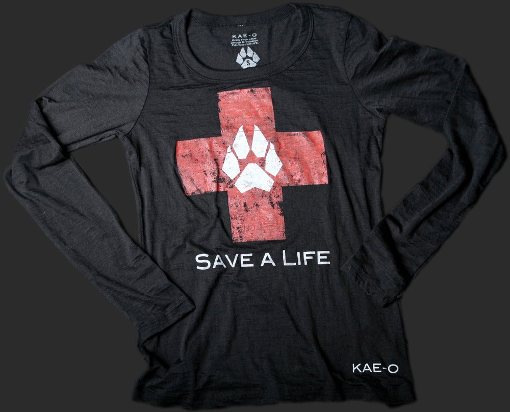 Image of Save-A-Life Women's Burnout LS Tee - Black