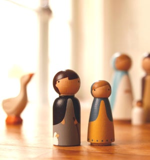 Image of Petite crèche peinte à la main