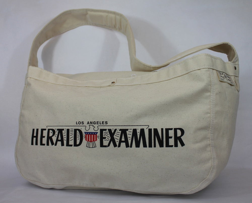 Image of SFV MERCANTILE Newspaper Boy Canvas Bag LOS ANGELES HERALD EXAMINER Deluxe Edition