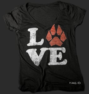 LOVE  Women's Burnout V-Tee - Black