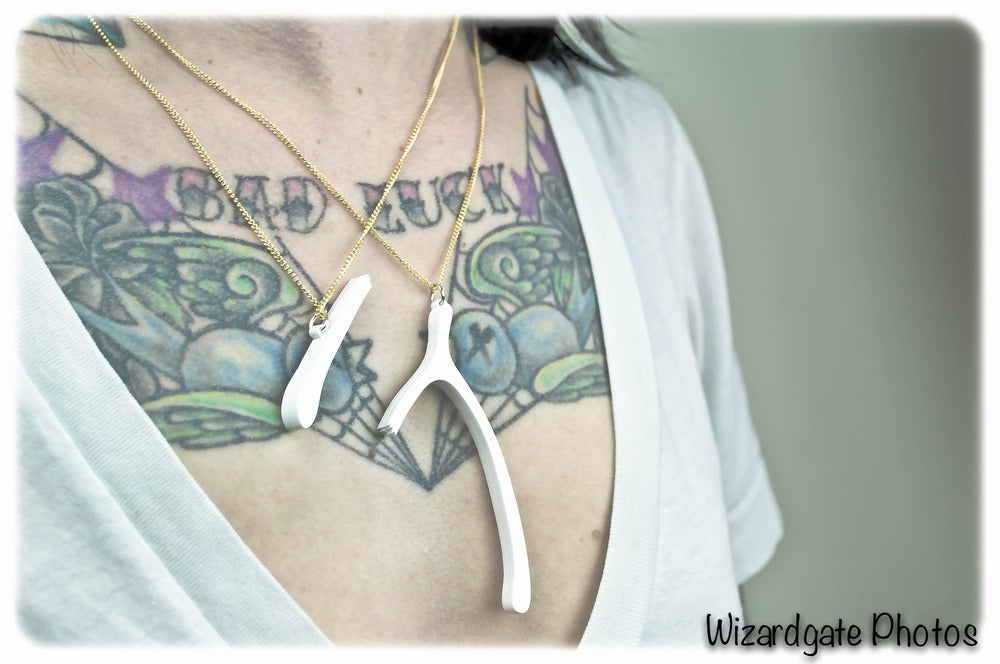 Image of Wishbone Breakable Double Necklace