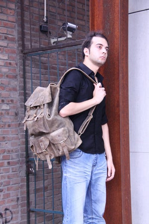 Image of Men's Large Handmade Superior Crazy Horse Leather Backpack Travel Bag (n422)