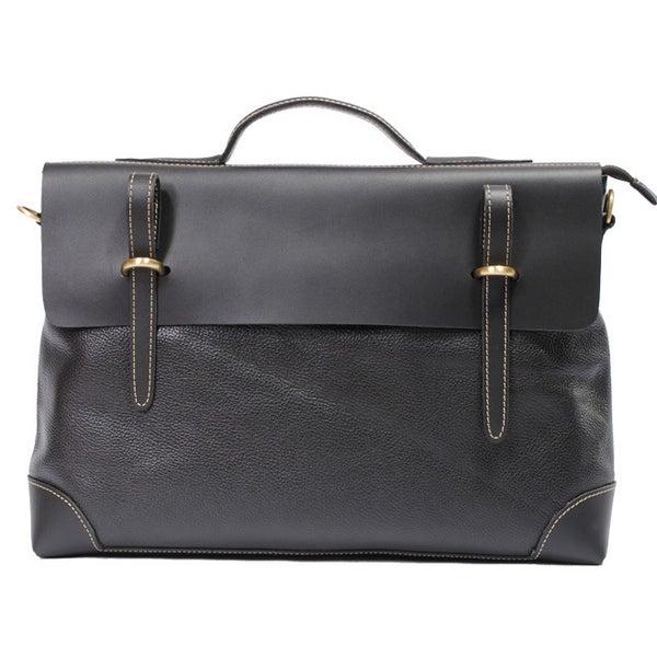 """Image of Handmade Genuine Leather Briefcase Messenger 14"""" Laptop / 15"""" MacBook Bag in Black (n44)"""