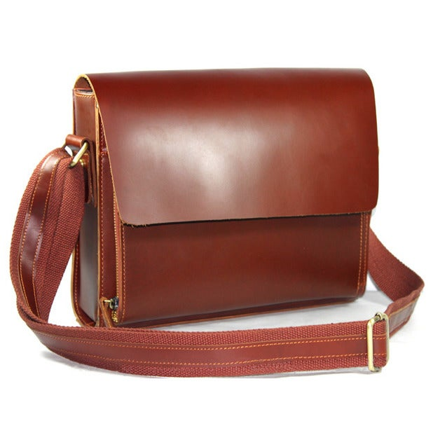 Image of Handmade Genuine Leather Messenger Satchel Bag / Case in reddish brown Smooth Cowhide (n52)