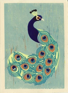 Image of Indian PEACOCK hand-pulled linocut illustration art print