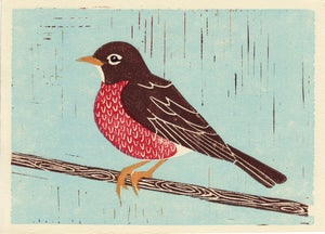 Image of AMERICAN ROBIN hand-pulled linocut illustration art print