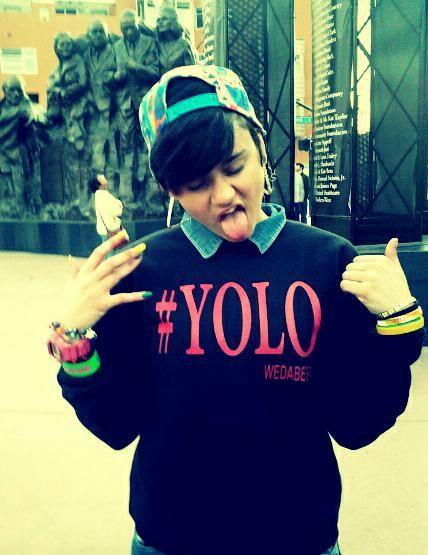 Image of BLACK/RED #YOLO CREWNECK