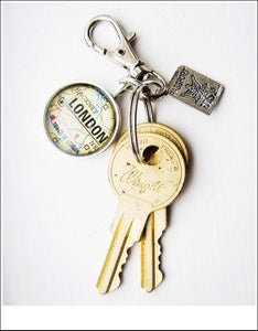 Image of Custom Map Key Chain with United States Passport Charm