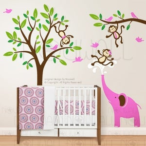 Image of Kids Wall decal wall sticker nursery decal Art -Monkeys & Elephant Having Fun Together - 105 - child