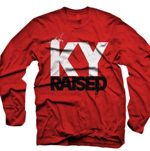 Image of LONG SLEEVE Ky Raised in Red, White & Black