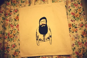 Image of Cream Bearded tattoo tote bag