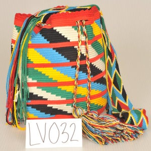 Image of Yellow, Blue, Red, White, Black Striped Diagonal Mochila