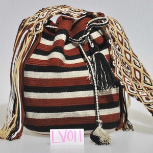 Image of Black, Auburn, White & Tan Striped Mochila