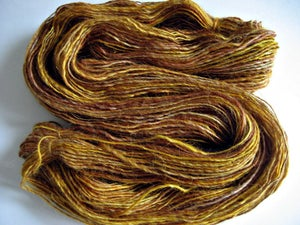 "Image of Sold Out, Hand-Dyed and Hand-Spun Devon, 4 oz, 200 yards, Gold, Pink, Red, Single Ply, ""Strawberry H"