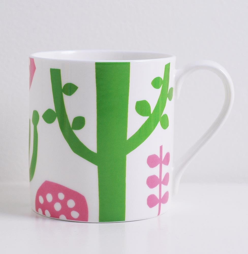 Image of Bone china pink/green tree mug