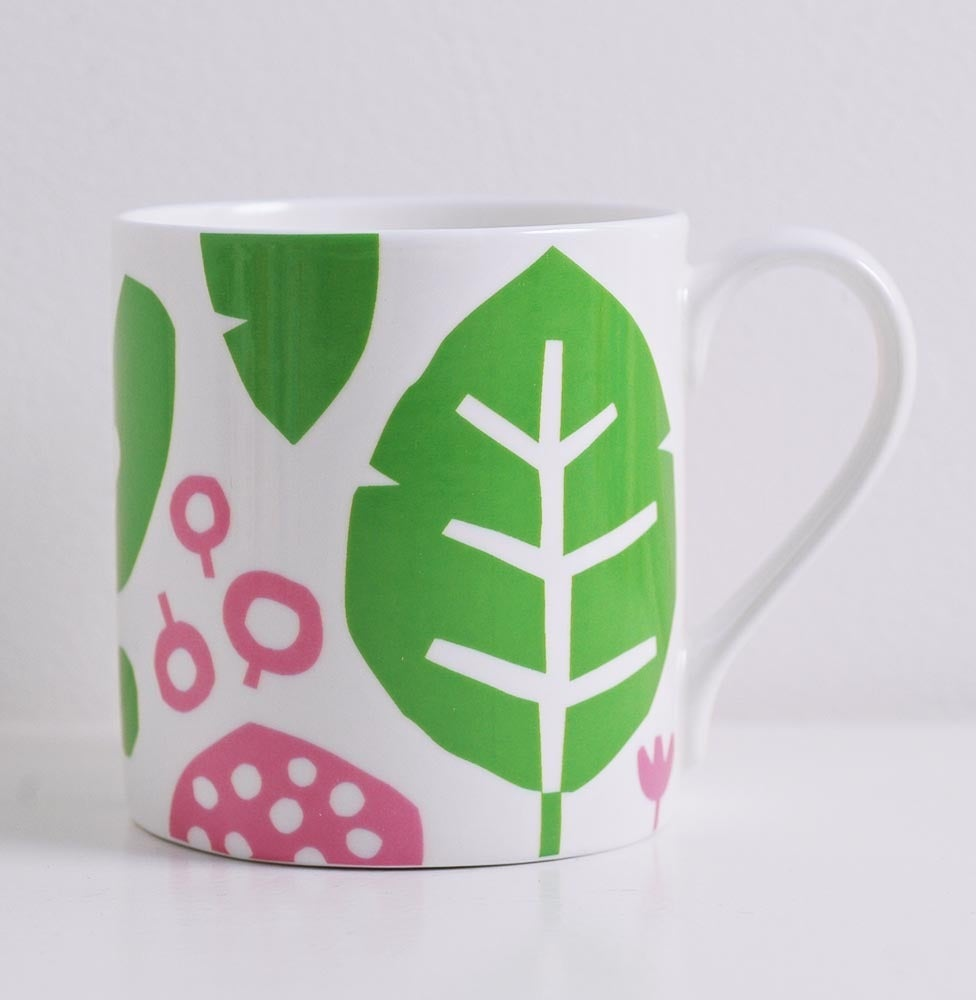 Image of Bone china pink/green leaf mug