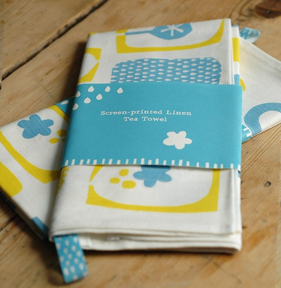 Image of Screen printed yellow/blue Tea Towel