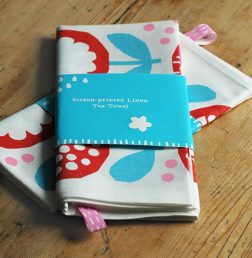 Kateclarkelondon Screen Printed Red Blue Poppy Tea Towel
