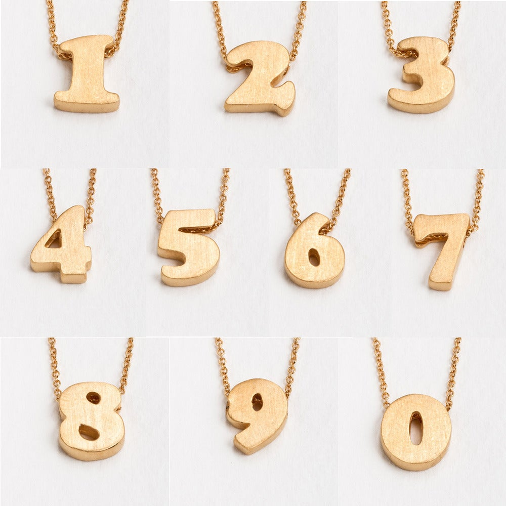 Image of 18k vermeil block number necklace