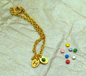 Image of Hand Stamped Baby Birthstone Bracelet
