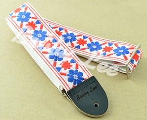 Image of Tulip Cream Blue Red Guitar Strap