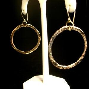 Image of Hoop Earrings - Hand Forged Solid 14K 1.25 Inch Diameter