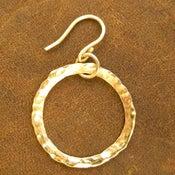 Image of Hoop Earrings 7/8 Inch Diameter Hand Forged 14K Gold