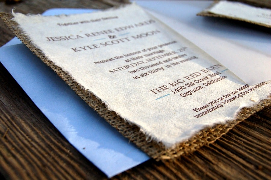 Do It Yourself D I Y Simple Rustic Burlap Wedding Invitation   Rustic Barn  Wedding With Blue Sky Acc