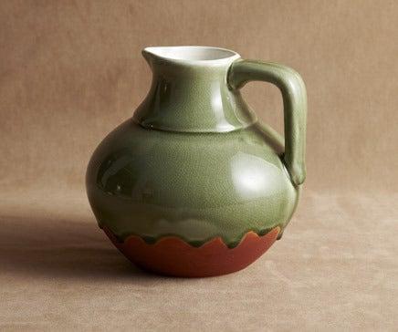 Image of Green Glazed Dripware Ceramic Pitcher BC-237