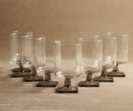 Image of Set of 8 Vintage Smoked Glass Cocktail Glasses BC-248
