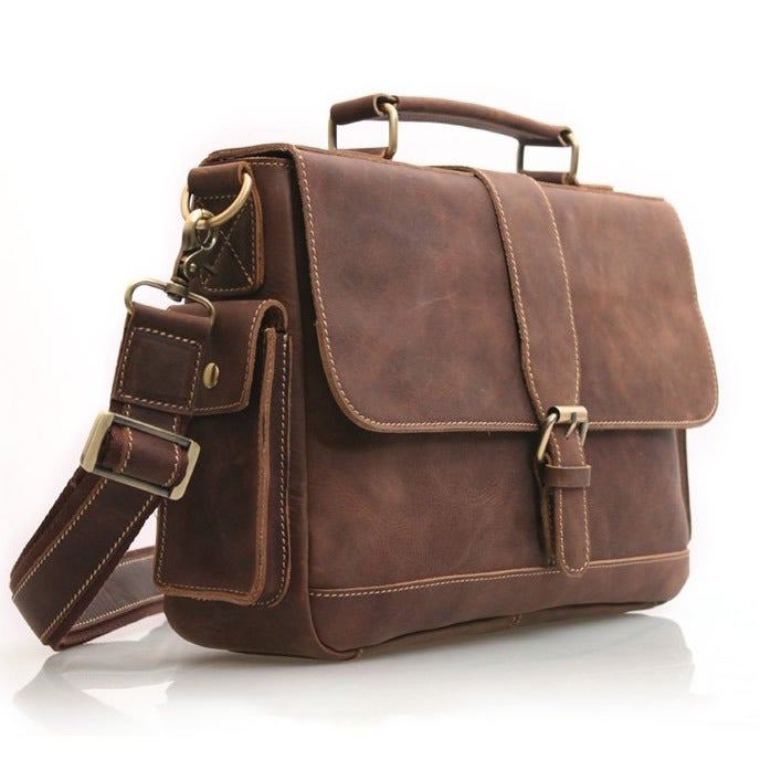 Image of Vintage Handmade Antique Crazy Horse Leather Briefcase Messenger Laptop Bag in Old Dark Brown (n20)