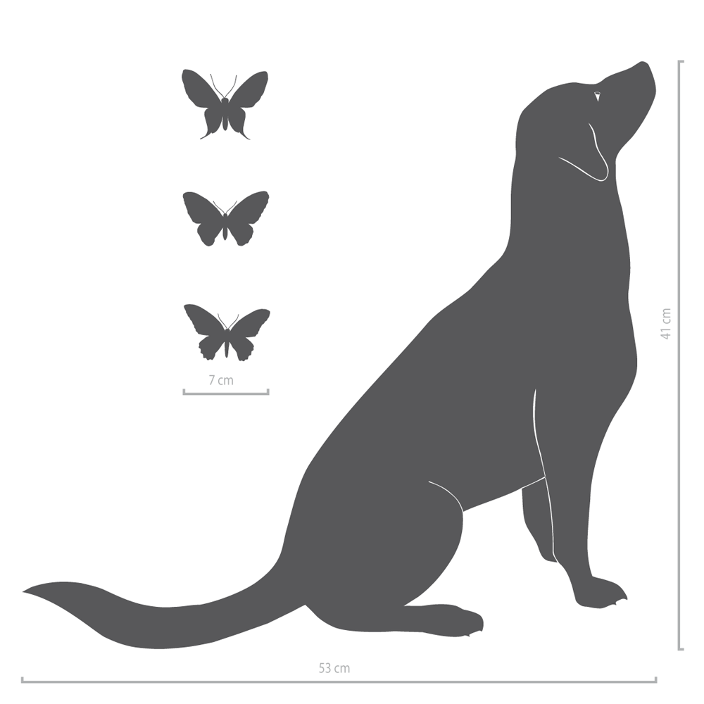 Image of Hund Wandtattoo Ennie mit 3 Schmetterlingen