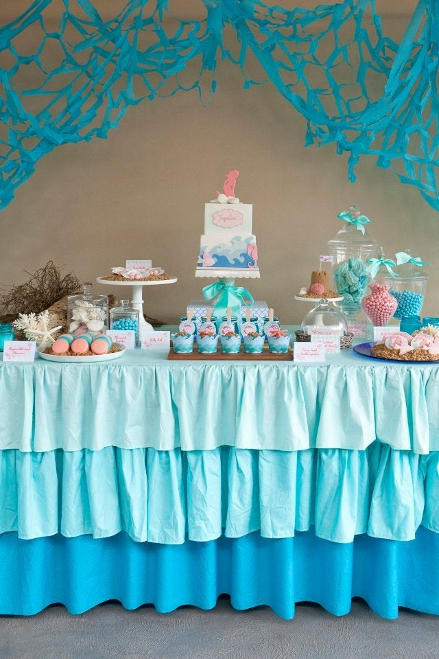Gravina Sister S Kitchen Ombre Ruffle Tablecloth Blue