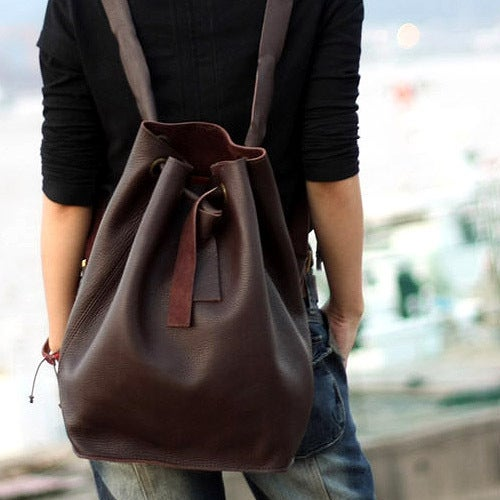 Image of Handmade Genuine Leather Backpack Satchel Day Pack Travel Bag - Unisex (m38)