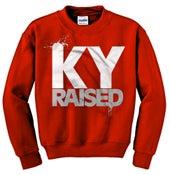 Image of Ky Raised Crewneck Sweatshirt in Red / White / Grey