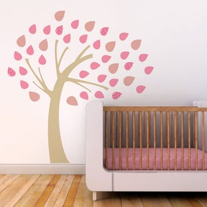Image of Windy Tree Fabric Decal - Removable and Reusable