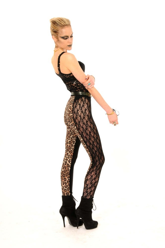 Image of ONIA Leggings in LEOPARD Print & LACE...