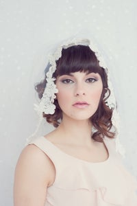 Image of Grace - Shoulder length bridal tulle veil trimmed with alencon lace
